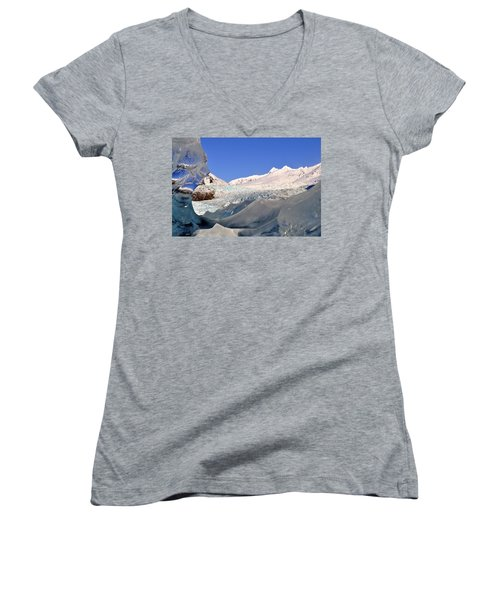 Women's V-Neck T-Shirt (Junior Cut) featuring the photograph Mendenhall Glacier Refraction by Cathy Mahnke