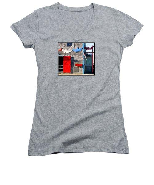 Menemsha Fish Market 3 Women's V-Neck T-Shirt