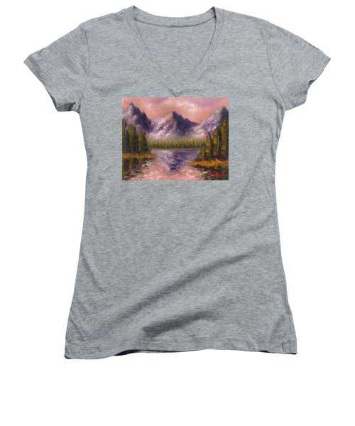 Women's V-Neck T-Shirt (Junior Cut) featuring the painting Mental Mountain by Jason Williamson