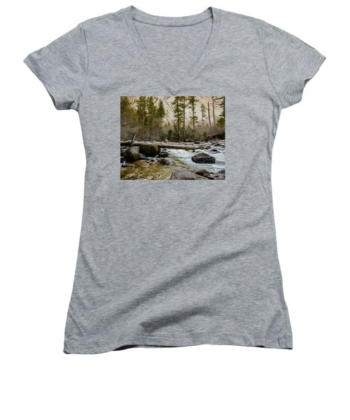 Merced River From Happy Isles 2 Women's V-Neck T-Shirt