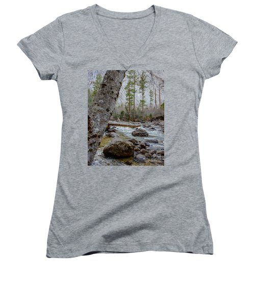 Merced River From Happy Isles Women's V-Neck T-Shirt
