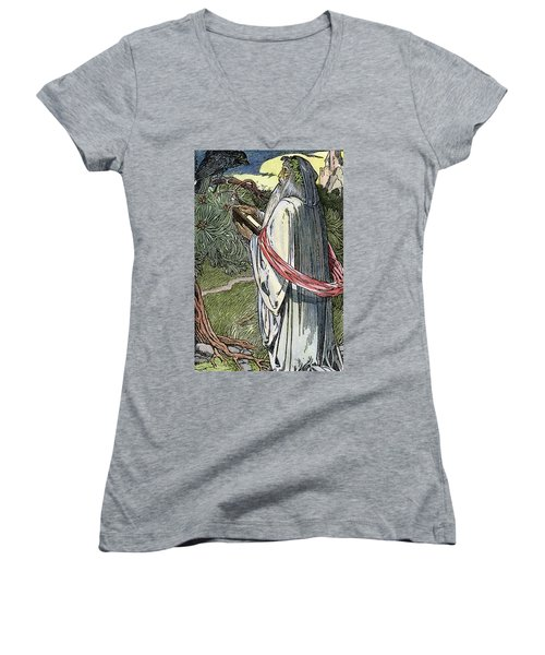 Women's V-Neck T-Shirt (Junior Cut) featuring the drawing Merlin The Magician, 1923 by Granger