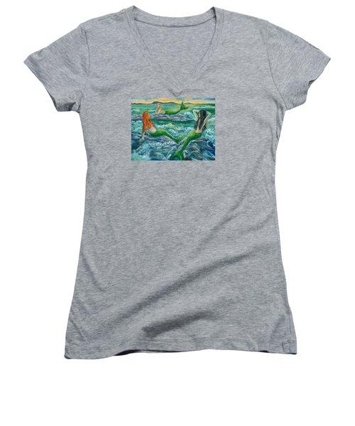 Mermaids On The Rocks Women's V-Neck T-Shirt (Junior Cut) by Julie Brugh Riffey