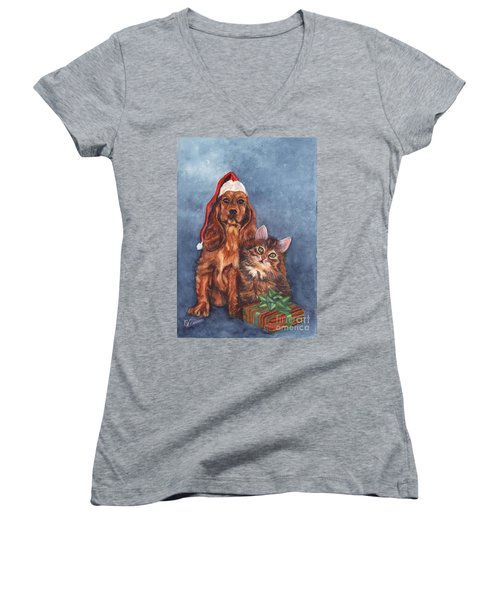 Merry Christmas Women's V-Neck T-Shirt (Junior Cut) by Carol Wisniewski