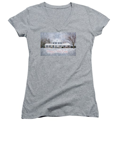 Wintry Holiday - Merry Christmas Women's V-Neck