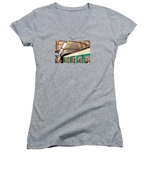 Women's V-Neck T-Shirt (Junior Cut) featuring the photograph Metro To Montmartre. Paris   by Jennie Breeze