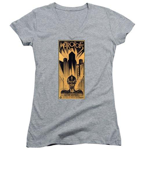 Metropolis Poster Women's V-Neck T-Shirt