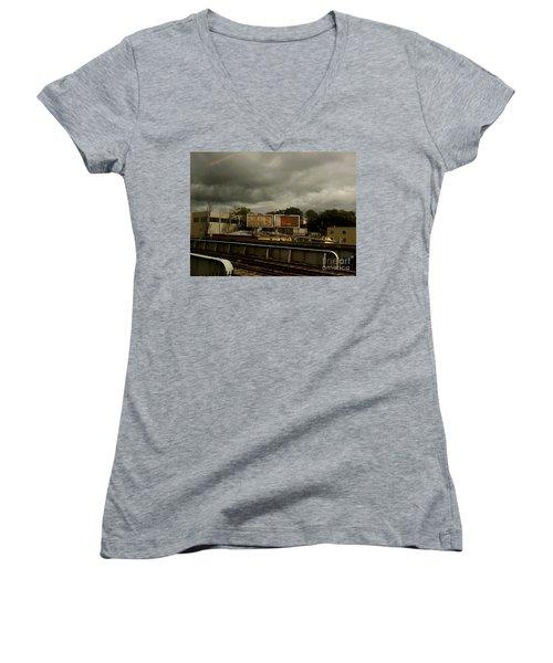 Women's V-Neck T-Shirt (Junior Cut) featuring the photograph Metropolitan Transit by Miriam Danar