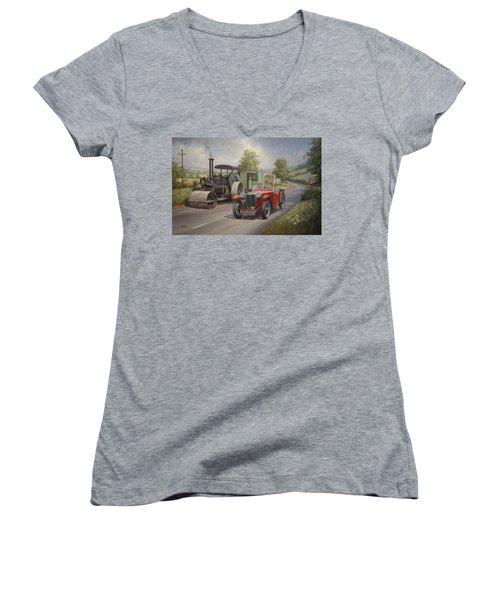 Mg Sports Car. Women's V-Neck (Athletic Fit)
