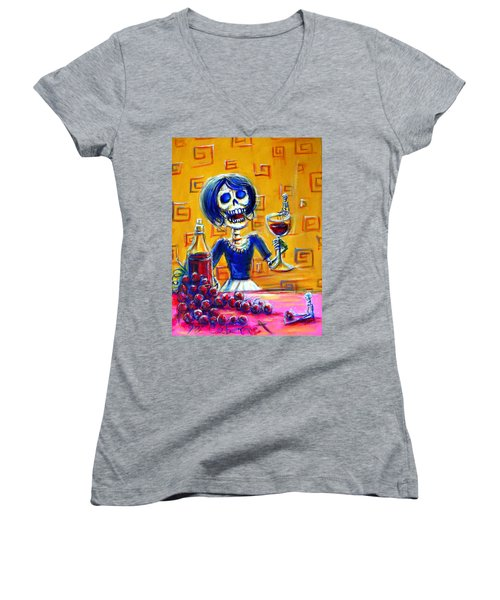 Women's V-Neck T-Shirt (Junior Cut) featuring the painting Mi Cabernet by Heather Calderon
