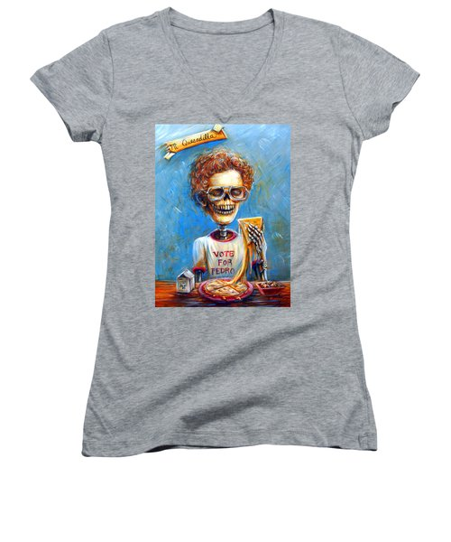 Women's V-Neck T-Shirt (Junior Cut) featuring the painting Mi Quesadilla by Heather Calderon