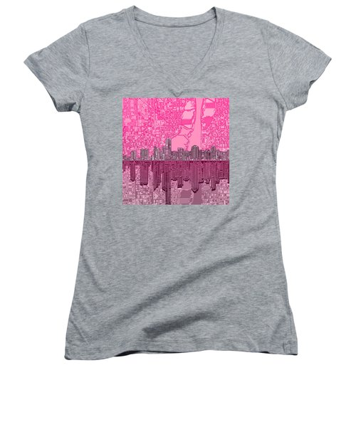 Miami Skyline Abstract 4 Women's V-Neck T-Shirt (Junior Cut) by Bekim Art
