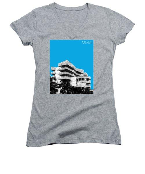 Miami Skyline Art Deco District - Ice Blue Women's V-Neck (Athletic Fit)