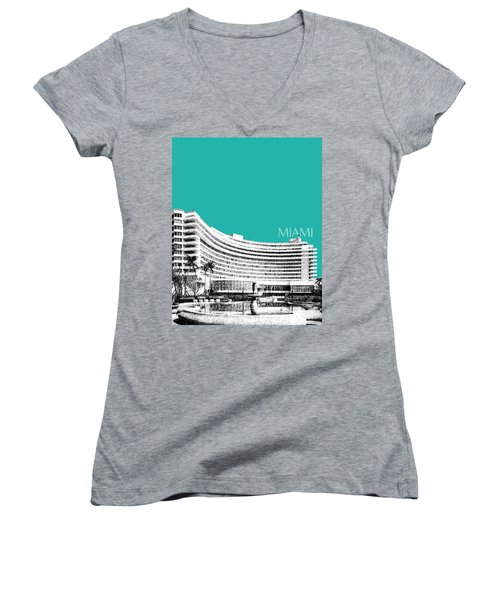 Miami Skyline Fontainebleau Hotel - Teal Women's V-Neck (Athletic Fit)