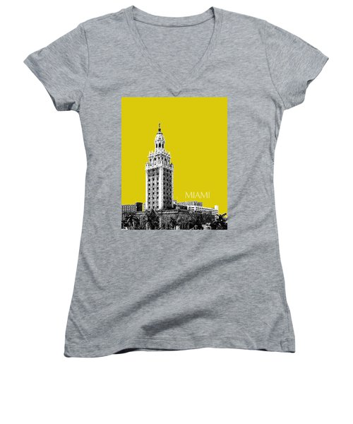 Miami Skyline Freedom Tower - Mustard Women's V-Neck (Athletic Fit)