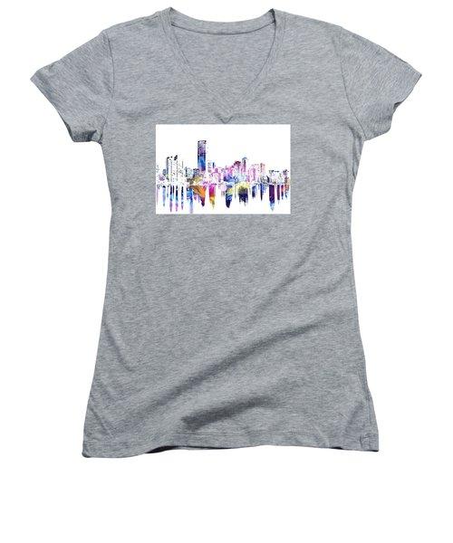 Miami Skyline Women's V-Neck T-Shirt (Junior Cut) by Doc Braham