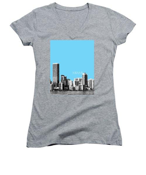Miami Skyline - Sky Blue Women's V-Neck (Athletic Fit)