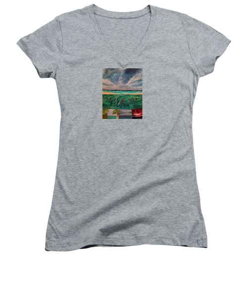 Women's V-Neck T-Shirt (Junior Cut) featuring the painting Delfin by Vanessa Palomino