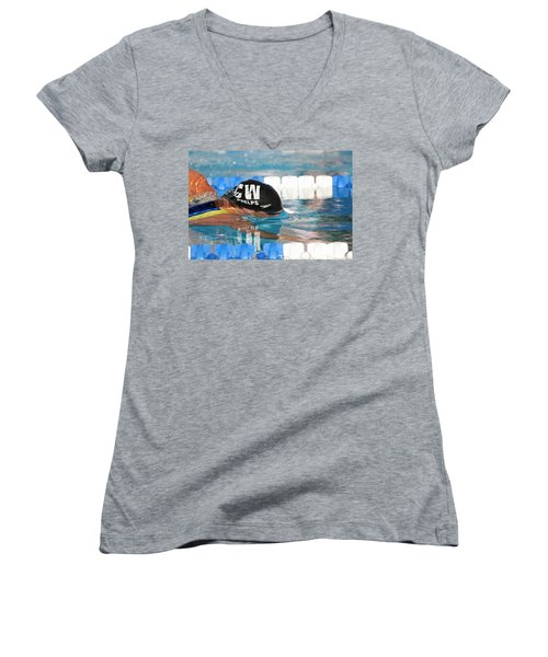 Women's V-Neck T-Shirt (Junior Cut) featuring the photograph Michael Phelps  by Duncan Selby