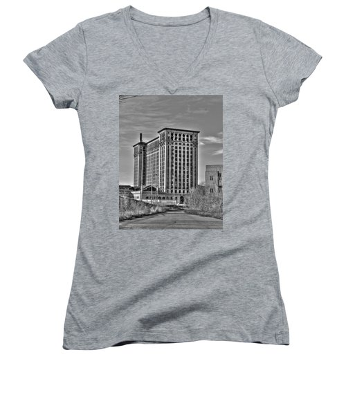 Michigan Central Station Women's V-Neck (Athletic Fit)