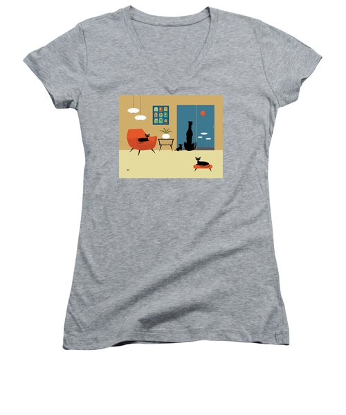 Mid Century Dogs And Cats Women's V-Neck T-Shirt