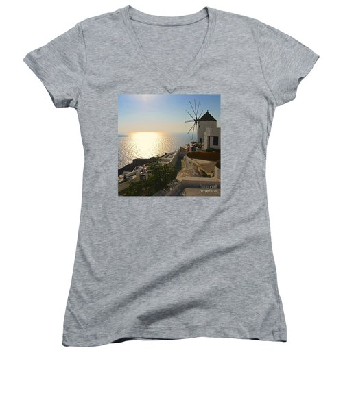 Midday On Santorini Women's V-Neck T-Shirt (Junior Cut) by Suzanne Oesterling