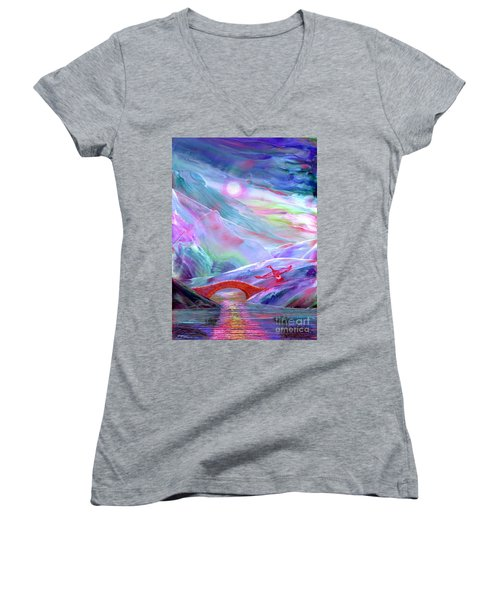 Women's V-Neck T-Shirt (Junior Cut) featuring the painting   Midnight Silence, Flying Goose by Jane Small