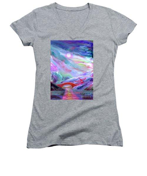 Midnight Silence, Flying Goose Women's V-Neck T-Shirt (Junior Cut) by Jane Small