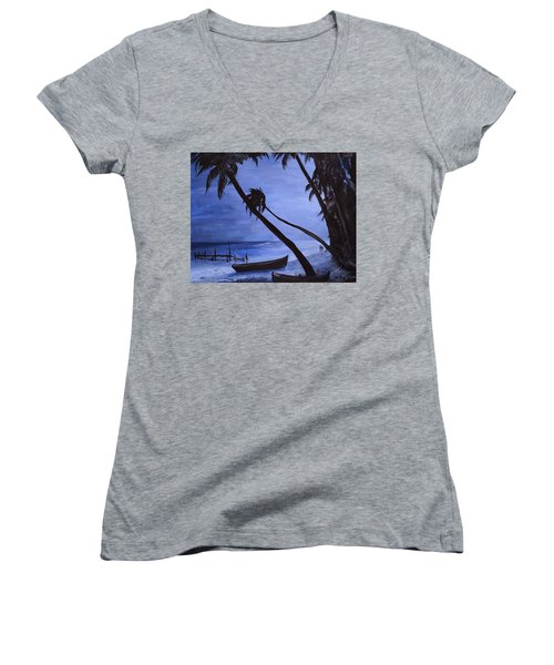 Women's V-Neck T-Shirt (Junior Cut) featuring the painting Midnight Stroll In Paradise by Alan Lakin