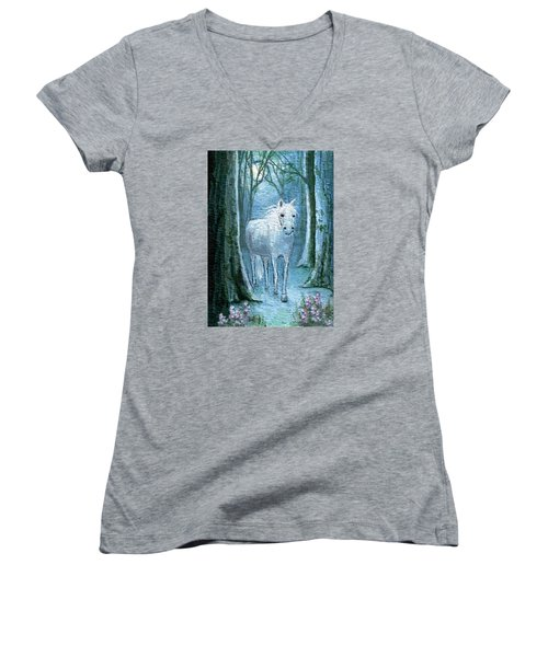 Women's V-Neck T-Shirt (Junior Cut) featuring the painting Midsummer Dream by Terry Webb Harshman
