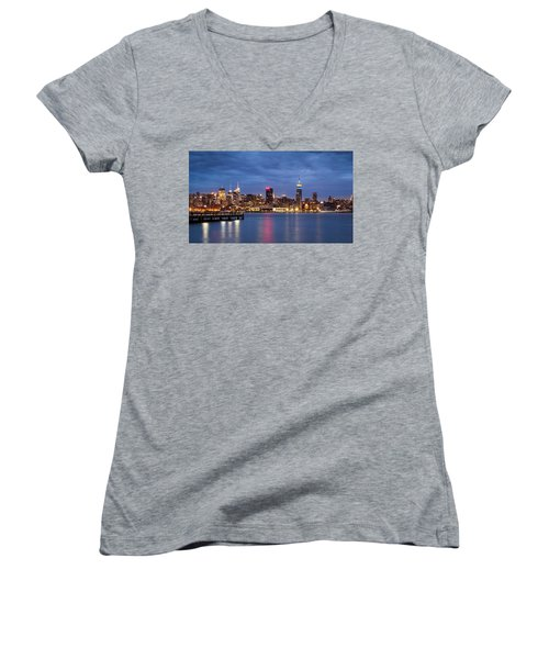 Midtown Manhattan Women's V-Neck T-Shirt (Junior Cut) by Mihai Andritoiu