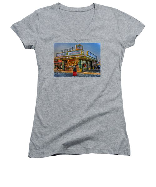 Women's V-Neck T-Shirt (Junior Cut) featuring the photograph Midway Steak House by Debra Fedchin