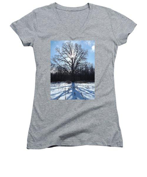 Mighty Winter Oak Tree Women's V-Neck T-Shirt