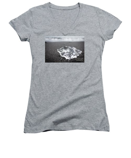 Women's V-Neck T-Shirt (Junior Cut) featuring the photograph Millennium Ice by Peta Thames