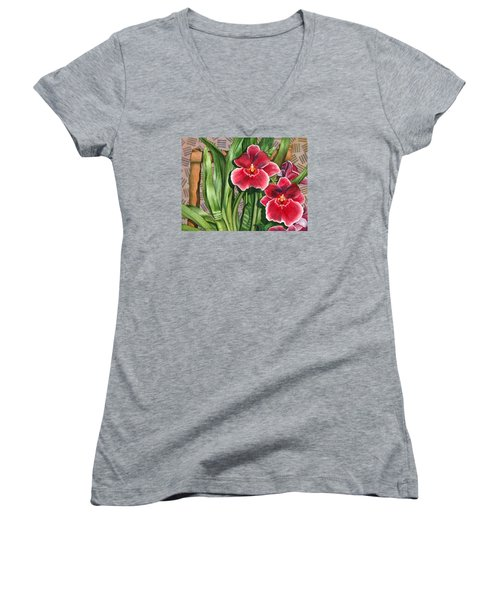 Miltonia Orchids Women's V-Neck T-Shirt