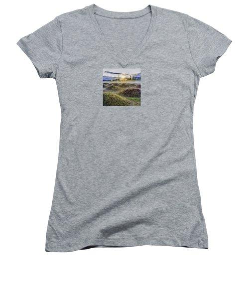 Mima Mounds Mist Women's V-Neck (Athletic Fit)