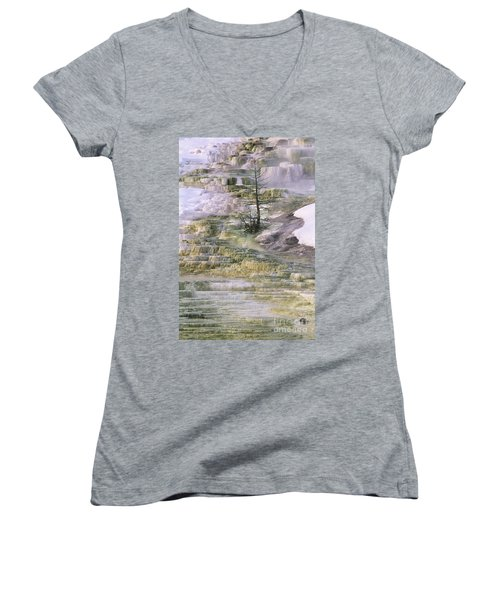 Women's V-Neck featuring the photograph Minerva Springs Terraces Yellowstone National Park by Dave Welling