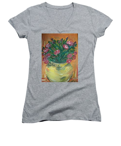 Women's V-Neck T-Shirt (Junior Cut) featuring the painting Mini Roses by Teresa White
