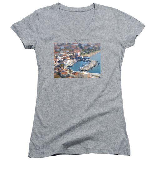 Women's V-Neck T-Shirt (Junior Cut) featuring the photograph Miniature Port by Vicki Spindler