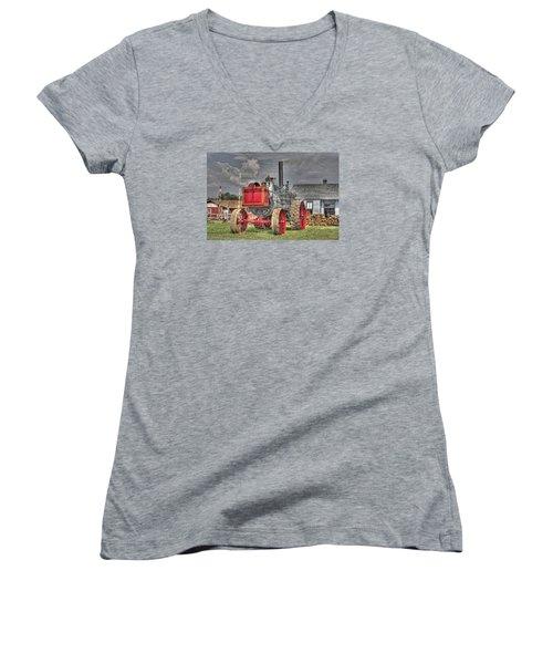 Minneapolis Return Flue  Women's V-Neck T-Shirt (Junior Cut) by Shelly Gunderson
