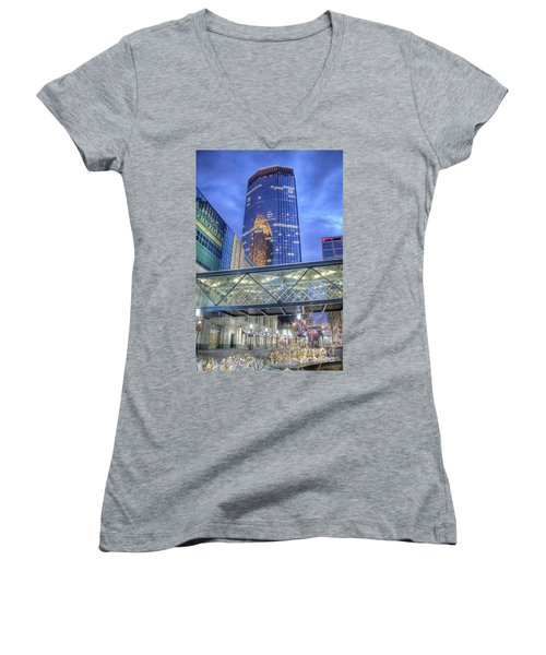 Minneapolis Skyline Photography Nicollet Mall Winter Evening Women's V-Neck (Athletic Fit)