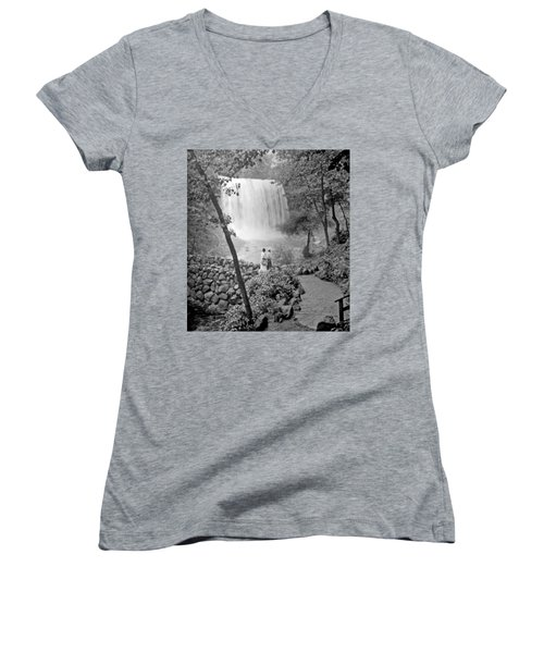 Women's V-Neck T-Shirt (Junior Cut) featuring the photograph Minnehaha Falls Minneapolis Minnesota 1915 Vintage Photograph by A Gurmankin