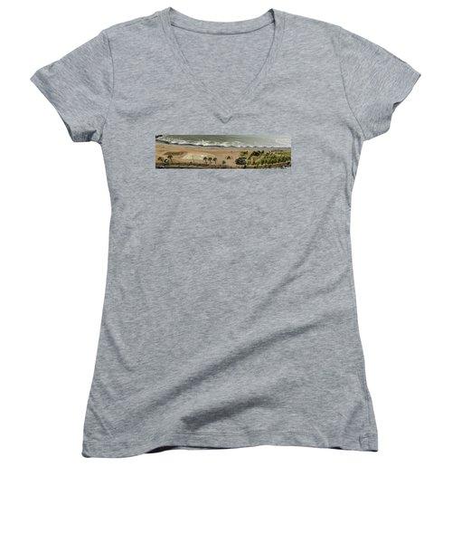 Miraflores Beach Panorama Women's V-Neck T-Shirt (Junior Cut) by Allen Sheffield