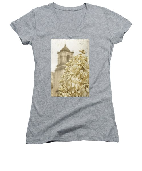 Mission San Jose And Blooming Yucca Women's V-Neck