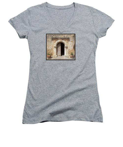 Mission San Jose Chapel Entry Doorway Women's V-Neck T-Shirt (Junior Cut) by John Stephens
