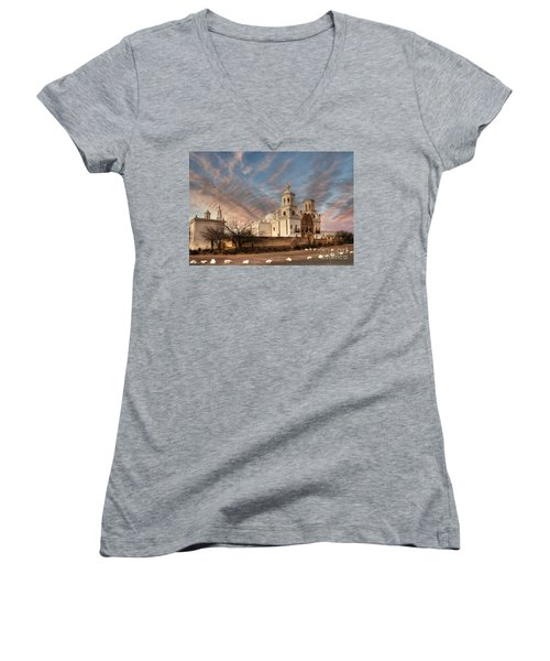 Mission San Xavier Del Bac Women's V-Neck T-Shirt (Junior Cut) by Vivian Christopher