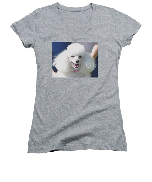 Missy White Poodle Women's V-Neck T-Shirt (Junior Cut) by Jay Milo
