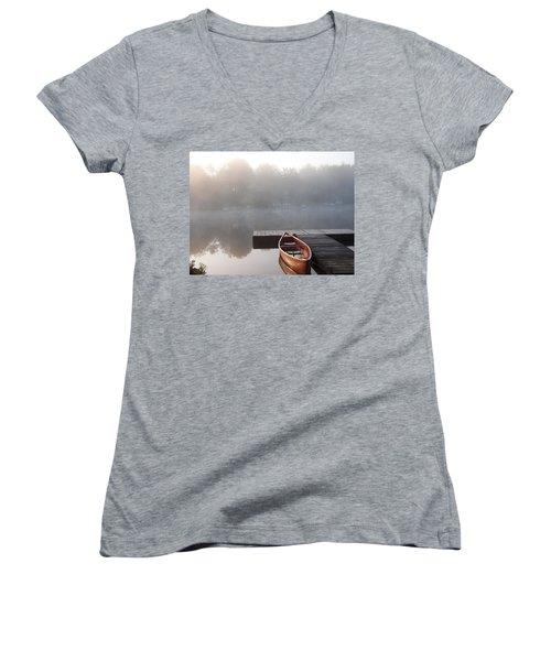 Mist Floating Over The Lake Women's V-Neck (Athletic Fit)