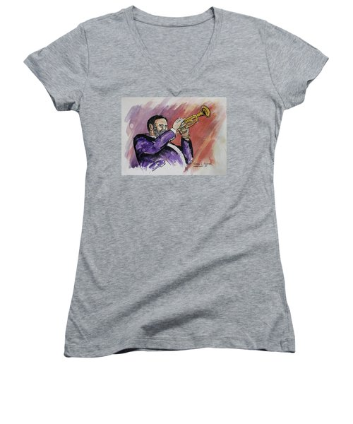 Mister Too Many Notes Women's V-Neck T-Shirt (Junior Cut) by Frank Hunter
