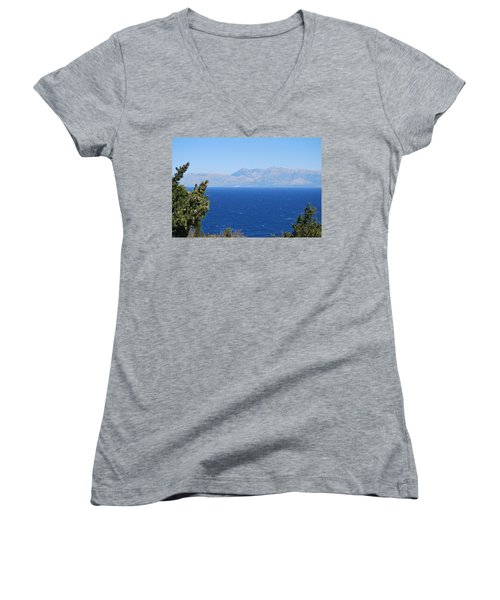 Women's V-Neck T-Shirt (Junior Cut) featuring the photograph Mistral Wind by George Katechis